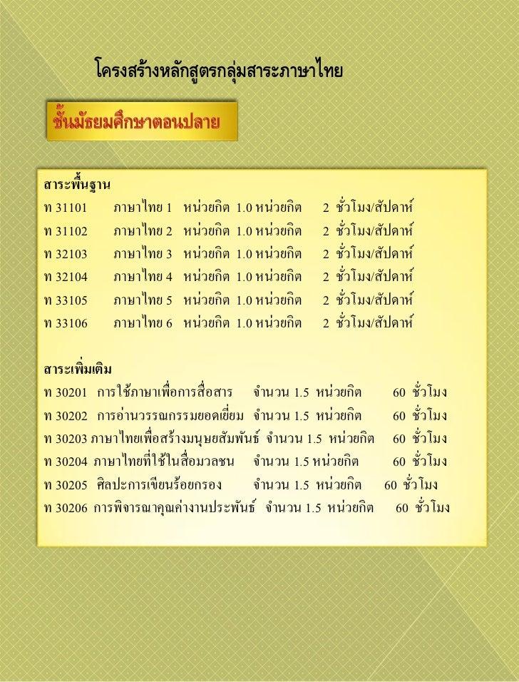 โครงสร้างหลักสูตรกลุ่มสาระภาษาไทยสาระพืนฐาน      ้ท 31101 ภาษาไทย 1       หน่วยกิต   1.0 หน่วยกิต   2   ชัวโมง/สัปดาห์    ...