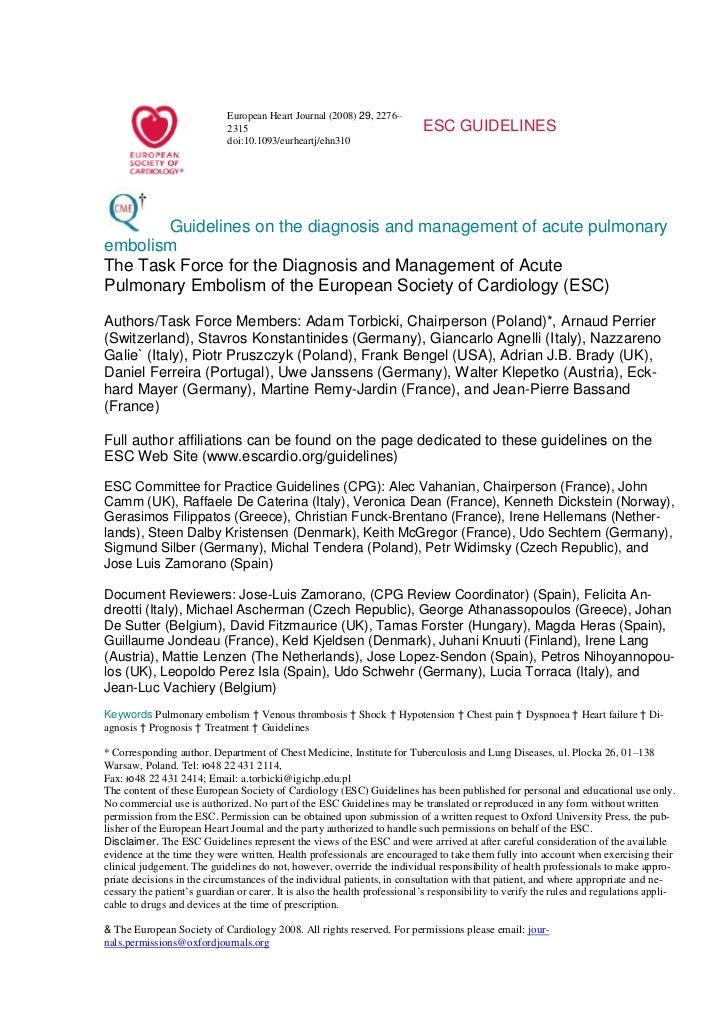рекомендации европейского общества кардиологов   тромбоэмболия легочной артерии