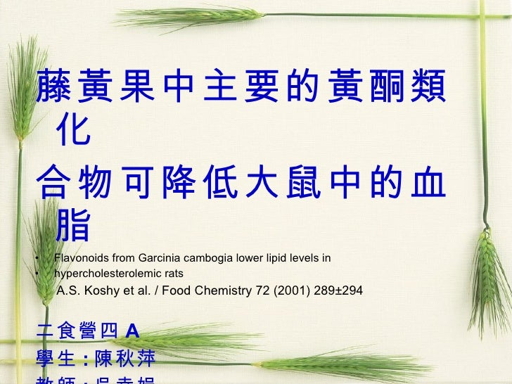 <ul><li>藤黃果中主要的黃酮類化 </li></ul><ul><li>合物可降低大鼠中的血脂 </li></ul><ul><li>Flavonoids from Garcinia cambogia lower lipid levels i...