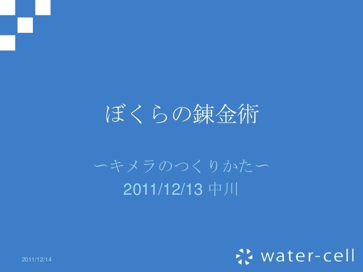 ぼくらの錬金術             〜キメラのつくりかた〜               2011/12/13 中川2011/12/14