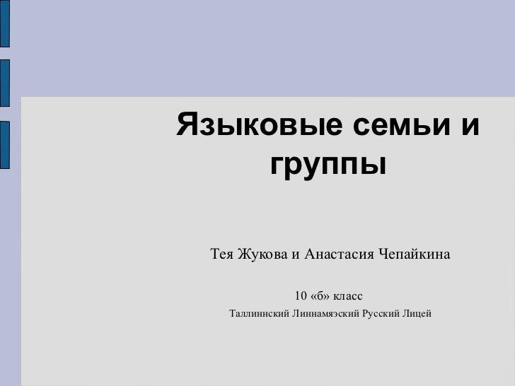 Языковые семьи и группы Тея