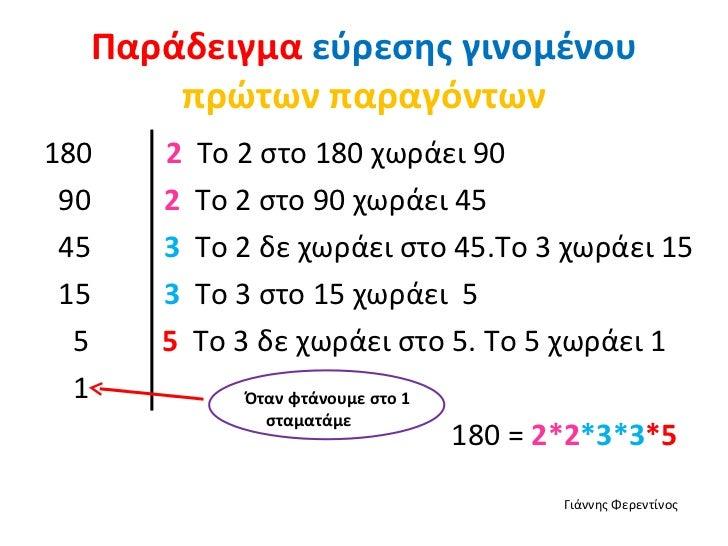 Παράδειγμα εύρεσης γινομένου      πρώτων παραγόντων180   2   Το 2 στο 180 χωράει 90 90   2   Το 2 στο 90 χωράει 45 45   3 ...