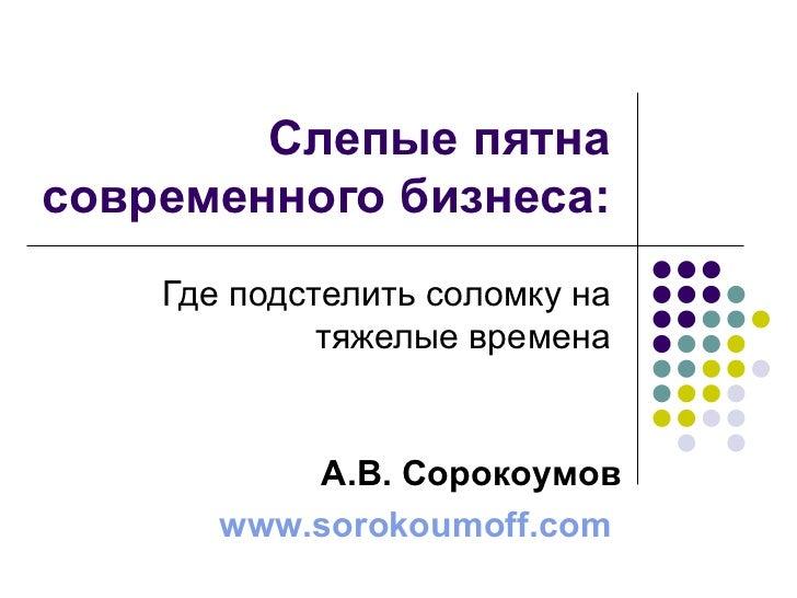 Александр Сорокоумов. Слепые пятна современного бизнеса