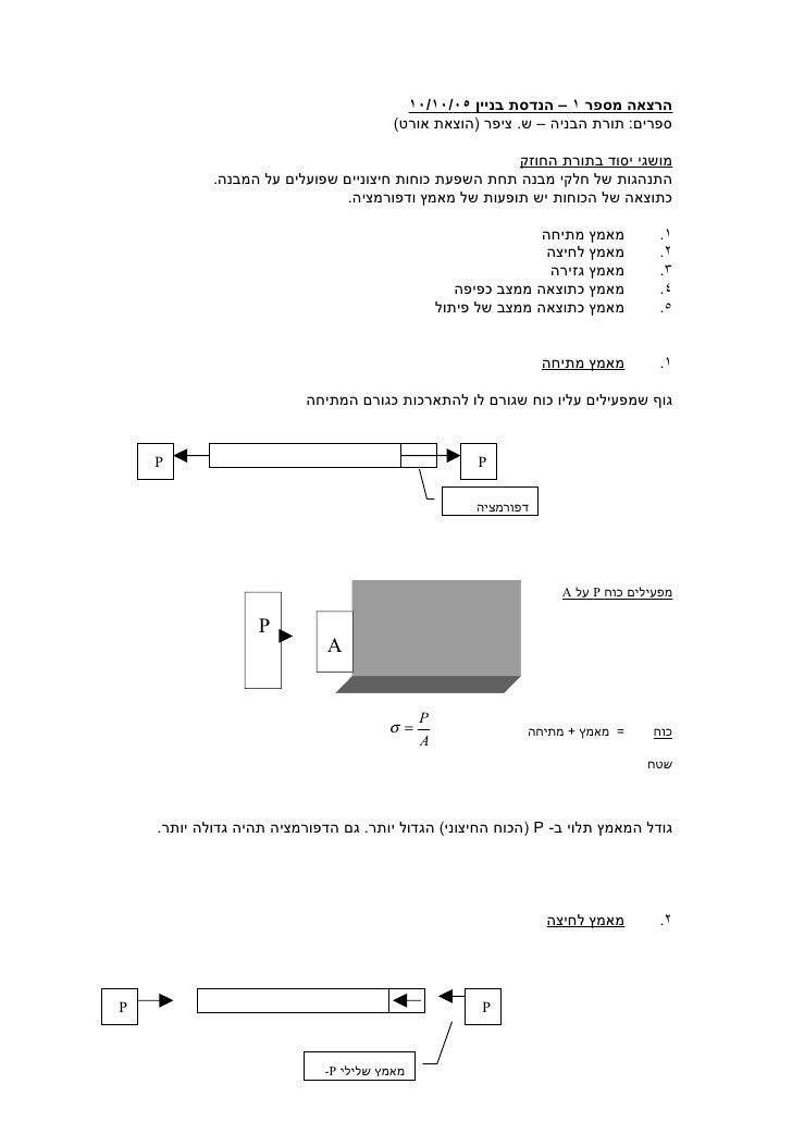 הרצאה מספר ١ – הנדסת בניין ٥٠/٠١/٠١                                        ספרים: תורת הבניה – ש. ציפר )הוצאת אורט(   ...