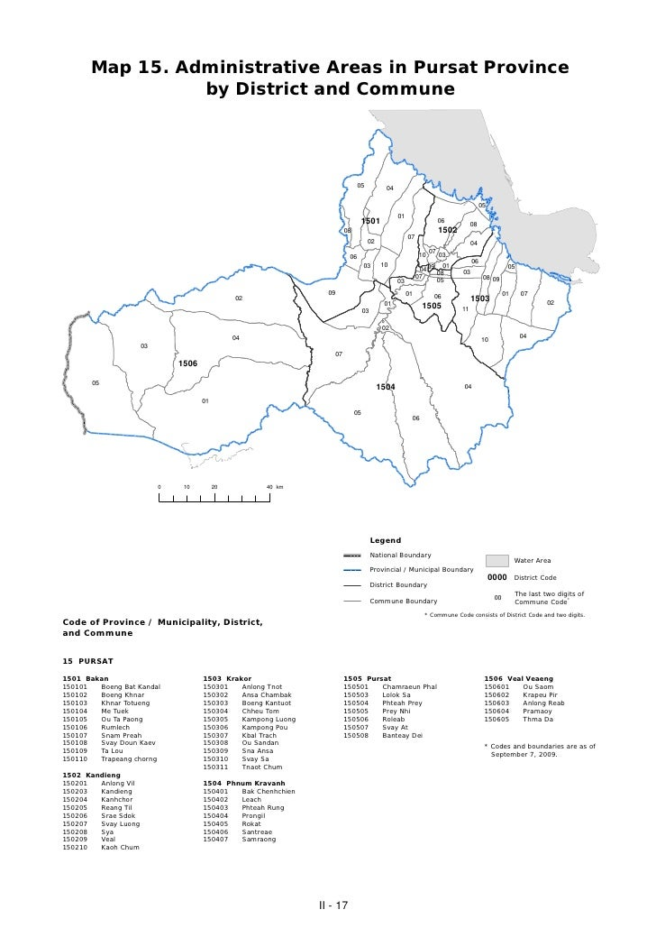 Map 15. Administrative Areas in Pursat Province                 by District and Commune                                   ...