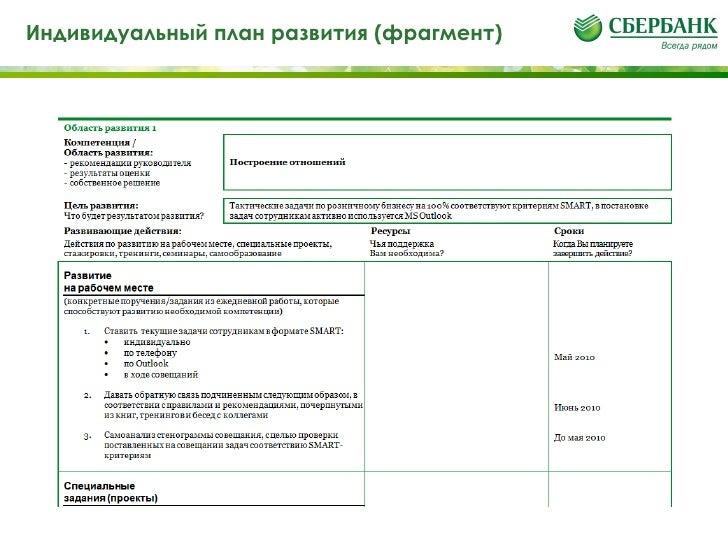 индивидуальный план развития сотрудника банка образец