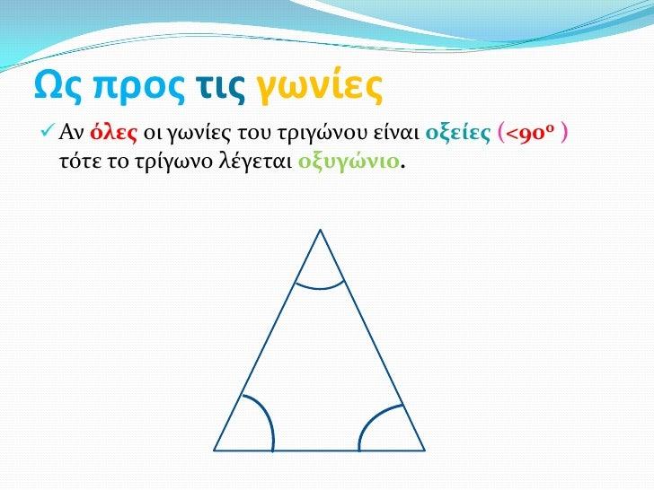 Ως προς τις γωνίες Αν όλεσ οι γωνίεσ του τριγώνου είναι οξείεσ (<90ο ) τότε το τρίγωνο λέγεται οξυγώνιο.