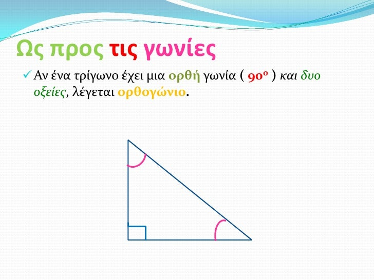 Ως προς τις γωνίες Αν ένα τρίγωνο έχει μια ορθή γωνία ( 90ο ) και δυο οξείες, λέγεται ορθογώνιο.