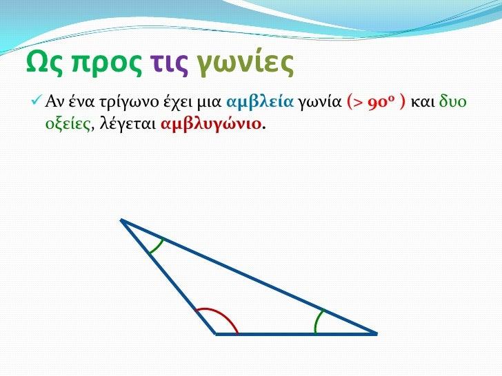 Ως προς τις γωνίες Αν ένα τρίγωνο έχει μια αμβλεία γωνία (> 90ο ) και δυο οξείεσ, λέγεται αμβλυγώνιο.