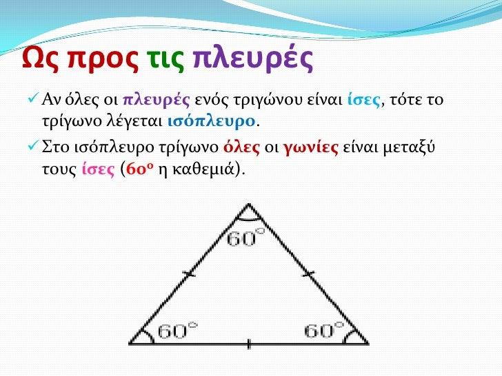 Ως προς τις πλευρές Αν όλεσ οι πλευρέσ ενόσ τριγώνου είναι ίςεσ, τότε το  τρίγωνο λέγεται ιςόπλευρο. Στο ιςόπλευρο τρίγω...