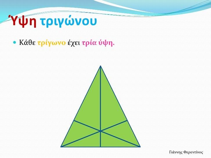 Ύψη τριγϊνου Κάθε τρύγωνο έχει τρύα ύψη.                                Γιάννησ Φερεντίνοσ
