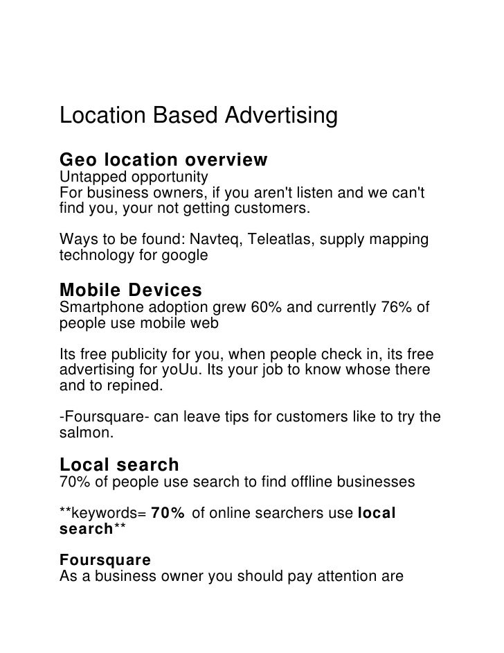 Location Based AdvertisingGeo location overviewUntapped opportunityFor business owners, if you arent listen and we cantfin...