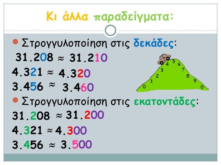 Κι άλλα παραδείγματα:Στρογγυλοποίηση στις δεκάδες:31.208 ≈ 31.2104.321 ≈ 4.3203.456 ≈ 3.460Στρογγυλοποίηση στις εκατοντά...