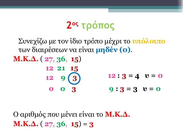 2ος τρόπος Συνεχίζω με τον ίδιο τρόπο μέχρι το υπόλοιπο των διαιρέσεων να είναι μηδέν (0).Μ.Κ.Δ. ( 27, 36, 15)         12 ...