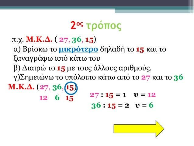 2ος τρόποςπ.χ. Μ.Κ.Δ. ( 27, 36, 15) α) Βρίσκω το μικρότερο δηλαδή το 15 και το ξαναγράφω από κάτω του β) Διαιρώ το 15 με τ...