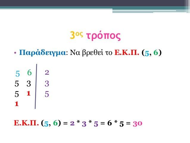 3ος τρόπος• Παράδειγμα: Να βξεζεί ην Δ.Κ.Π. (5, 6)5 6      25 3      35 1      51Δ.Κ.Π. (5, 6) = 2 * 3 * 5 = 6 * 5 = 30