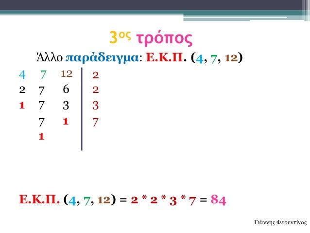 3ος τρόπος  Άιιν παράδειγμα: Δ.Κ.Π. (4, 7, 12)4 7 12    22 7   6   21 7   3   3  7   1   7  1Δ.Κ.Π. (4, 7, 12) = 2 * 2 * 3...