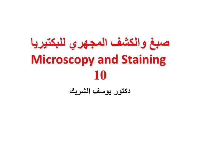 صبغ والكشف المجهري للبكتيرياMicroscopy and Staining              01       دكتور يوسف الشريك