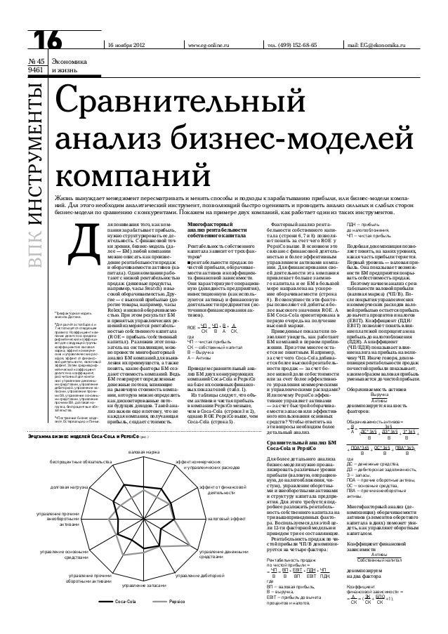 Публикация Сравнительный анализ бизнес моделей компаний  Вашакмадзе Т. Экономика и жизнь, № 45 9461