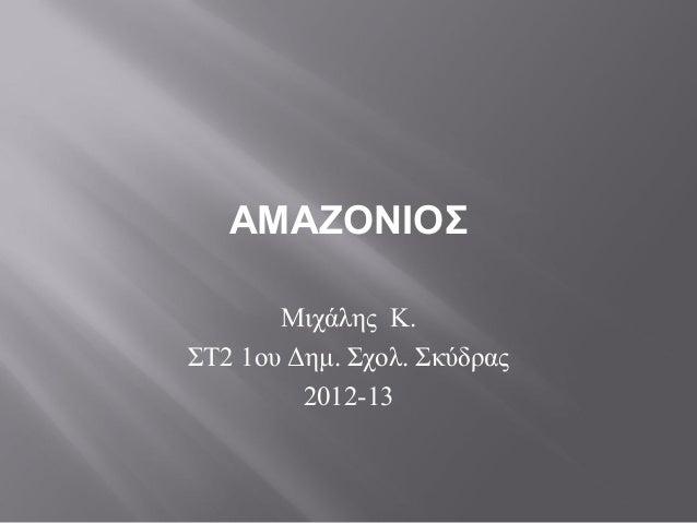 ΑΜΑΖΟΝΙΟΣ       Μιχάλης Κ.ΣΤ2 1ου Δημ. Σχολ. Σκύδρας         2012-13