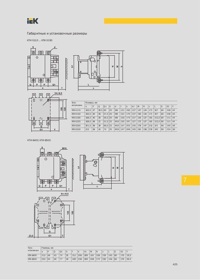 КТИ-5330 Типо- Размеры,