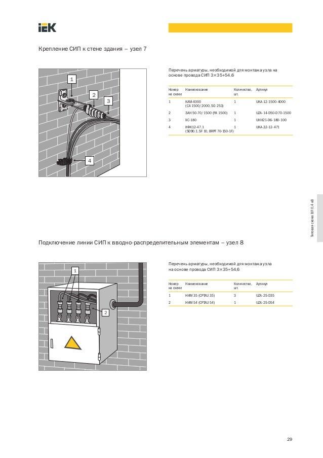 Крепление СИП к стене здания