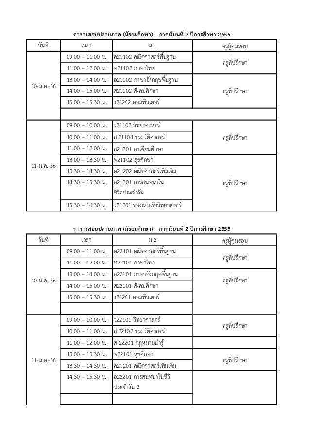 ตารางสอบปลายภาค (มัธยมศึกษา) ภาคเรียนที่ 2 ปีการศึกษา 2555   วันที่          เวลา                    ม.1                  ...