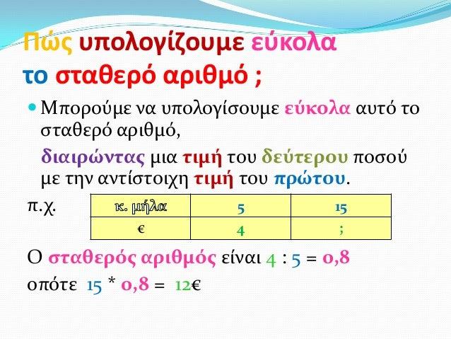 Πώσ υπολογίηουμε εφκολατο ςταθερό αριθμό ; Μπορούμε να υπολογίςουμε εύκολα αυτό το ςταθερό αριθμό, διαιρώντασ μια τιμή το...