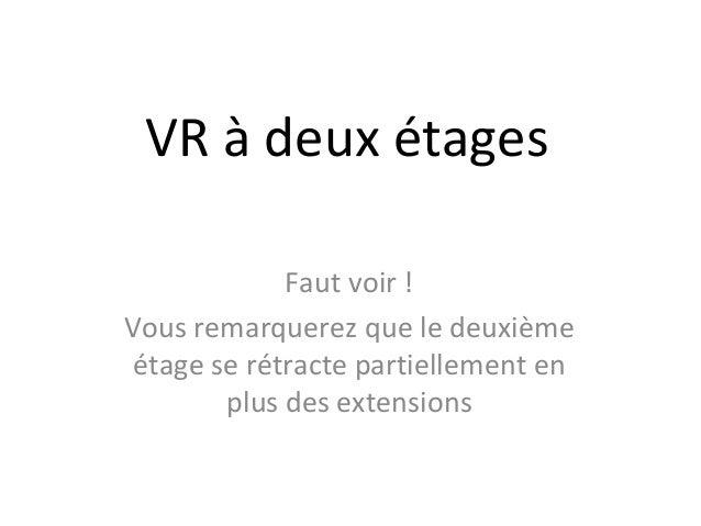 VR à deux étages             Faut voir !Vous remarquerez que le deuxième étage se rétracte partiellement en        plus de...