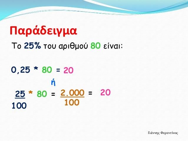 ΠαράδειγμαTο 25% του αριθμού 80 είναι:0,25 * 80 = 20         ή 25 * 80 = 2.000 = 20100         100                        ...