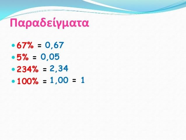 Παραδείγματα 67% = 0,67 5% = 0,05 234% = 2,34 100% = 1,00 = 1
