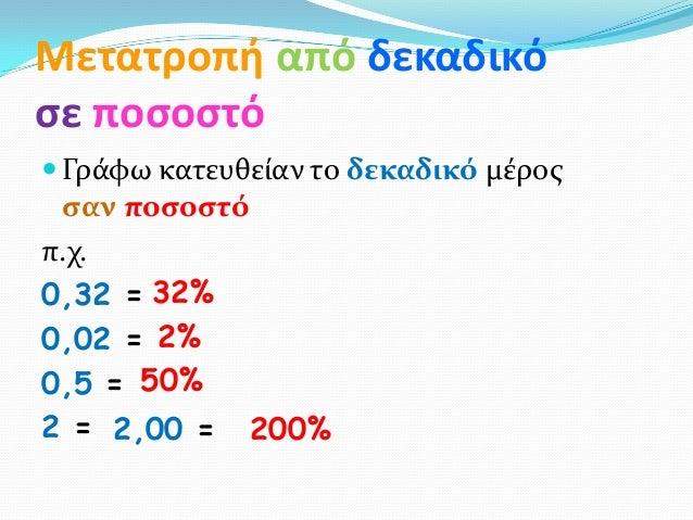 Μετατροπή από δεκαδικόςε ποςοςτό Γρϊφω κατευθεύαν το δεκαδικό μϋροσ ςαν ποςοςτόπ.χ.0,32 = 32%0,02 = 2%0,5 = 50%2 = 2,00 =...