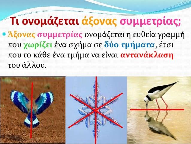 Τι ονομάηεται άξονασ ςυμμετρίασ; Άξονασ ςυμμετρίασ ονομάζεται η ευθεία γραμμήπου χωρίζει ένα ςχήμα ςε δύο τμήματα, έτςιπο...