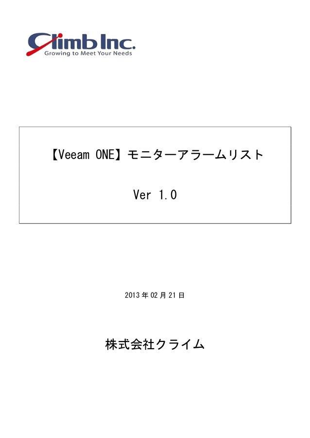 【Veeam ONE】モニターアラームリストVer 1.02013 年 02 月 21 日株式会社クライム