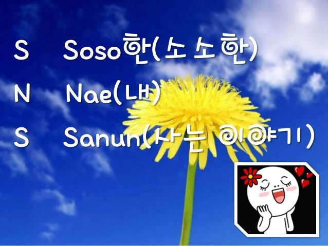 S Soso한(소소한)N Nae(내)S Sanun(사는 이야기)