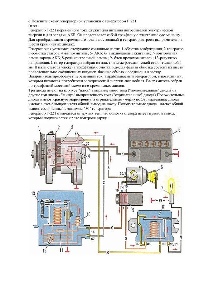 Поясните схему генераторной
