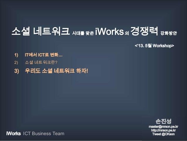 소셜 네트워크 시대를 맞은 iWorks의 경쟁력 강화방안1) IT에서 ICT로 변화…2) 소셜 네트워크란?3) 우리도 소셜 네트워크 하자!손진성master@mrson.pe.krhttp://mrson.pe.krTweet ...
