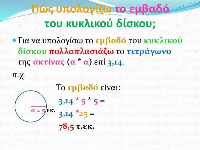Πώσ υπολογίηω το εμβαδότου κυκλικοφ δίςκου; Για να υπολογίςω το εμβαδό του κυκλικούδίςκου πολλαπλαςιάζω το τετράγωνοτησ α...