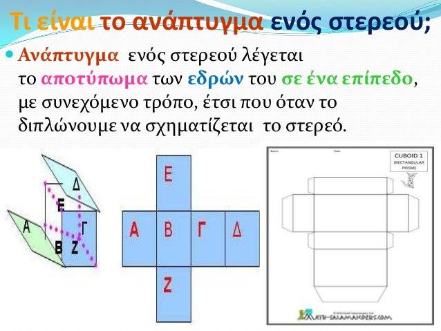 Τι είναι το ανάπτυγμα ενόσ ςτερεοφ; Ανϊπτυγμα ενόσ ςτερεού λϋγεταιτο αποτύπωμα των εδρών του ςε ϋνα επύπεδο,με ςυνεχόμενο...