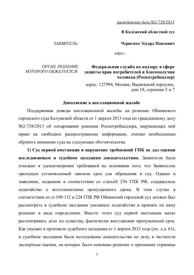 Дополнение К Апелляционной Жалобе По Гражданскому Делу Образец Скачать img-1