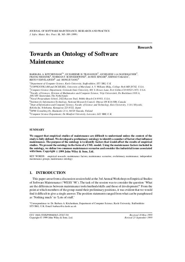 JOURNAL OF SOFTWARE MAINTENANCE: RESEARCH AND PRACTICE J. Softw. Maint: Res. Pract. 11, 365–389 (1999) Research Towards an...
