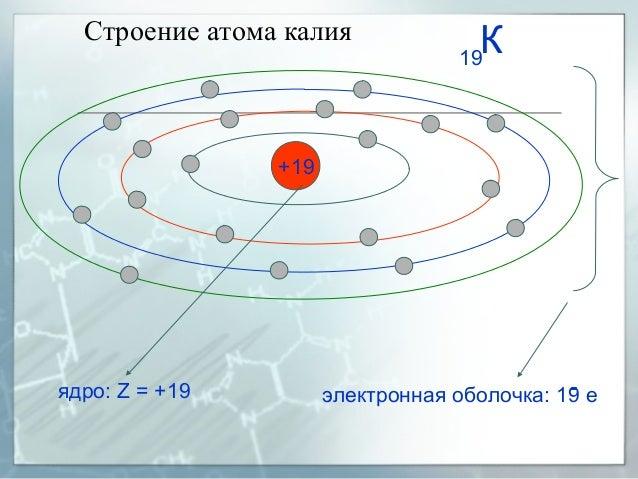Строение атома калия +19 ядро: