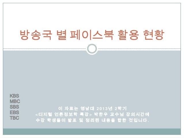 방송국별 페이스북 활용 현황
