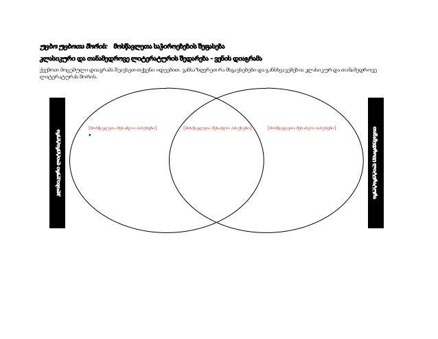 უცხო უცხოთა შორის: მოსწავლეთა საჭიროებების შეფასება კლასიკური და თანამედროვე ლიტერატურის შედარება - ვენის დიაგრამა  [მოსწა...