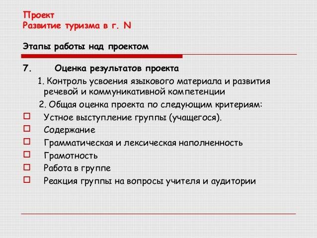 Проект Развитие туризма в г.