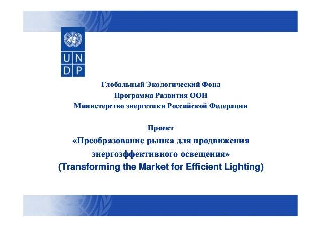 Глобальный Экологический Фонд Программа Развития ООН Министерство энергетики Российской Федерации Проект  «Преобразование ...
