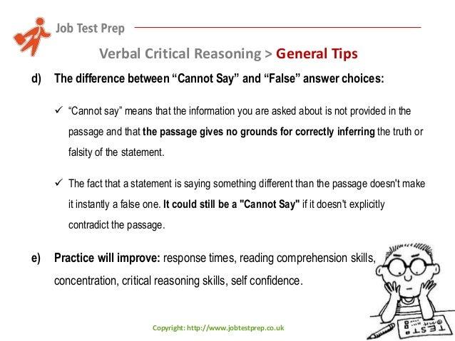 critical thinking reasoning test