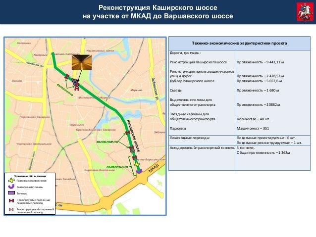 Схема реконструкции каширского шоссе от мкада6