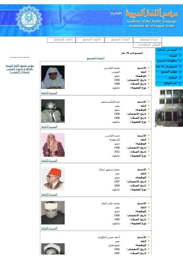 مجمع اللغة العربية (القاهرة) -أعضاء المجمع