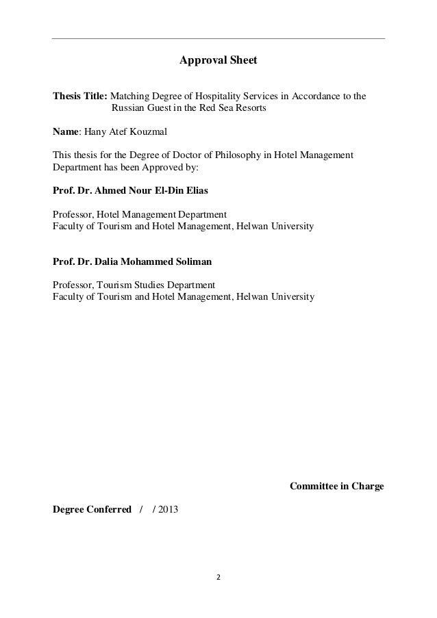 Dissertation proposal service hospitality management